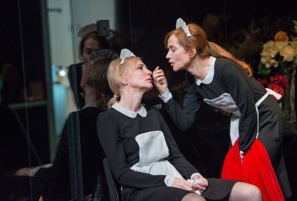 "(L-R) Cate Blanchett and Isabelle Huppert in a scene from Sydney Theatre Company's production of ""The Maids"" by Jean Genet; August 7, 2014 at New York City Center; presented by Lincoln Center Festival 2014. CAST Claire Cate Blanchett Solange Isabelle Huppert Mistress Elizabeth Debicki Director Benedict Andrews"