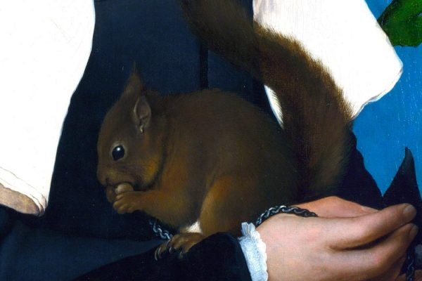 "Detail of Hans Holbein's ""Lady with a Squirrel,"" c. 1526. Image via Wikimedia Commons"