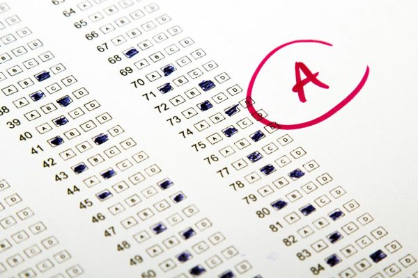 Photo of an A test grade.