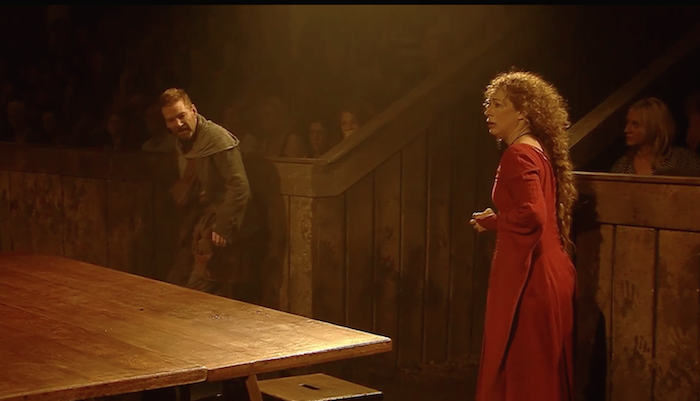 Macbeth's theatre audience is in clear view. Screenshot.