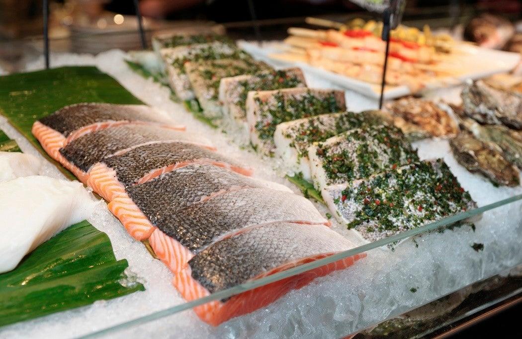 Fish steaks on cooled market display
