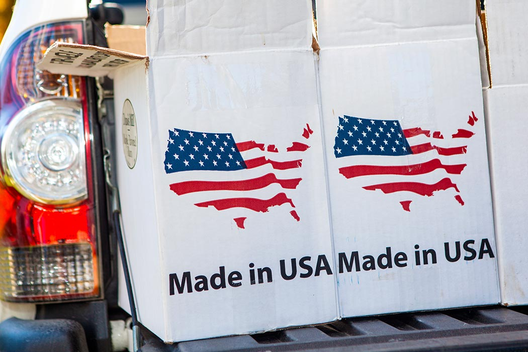 Cardboard Boxes With a Made In America Emblem