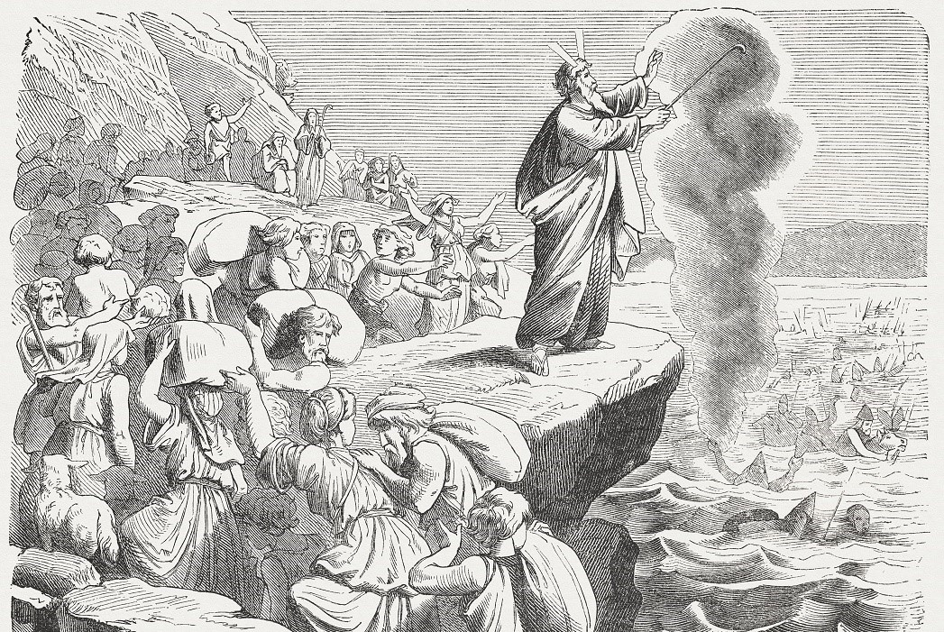 """So Moses extended his hand toward the sea, and the sea returned to its normal state when the sun began to rise. Now the Egyptians were fleeing before it, but the Lord overthrew the Egyptians in the middle of the sea. The water returned and covered the chariots and the horsemen and all the army of Pharaoh that was coming after the Israelites into the sea – not so much as one of them survived! But the Israelites walked on dry ground in the middle of the sea, the water forming a wall for them on their right and on their left. (Exodus, Chapter 14, 27-29). Woodcut after a drawing by Julius Schnorr von Carolsfeld (German painter, 1794 - 1872) from the """"Große Haus-Bilder-Bibel (Large House Pictures Bible)"""" by Dr. Martin Luther. Published by J. Ebner, Ulm (1877)"""