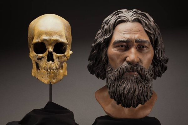 Side-by-side comparison of Kennewick Man's skull and a reconstructed head.