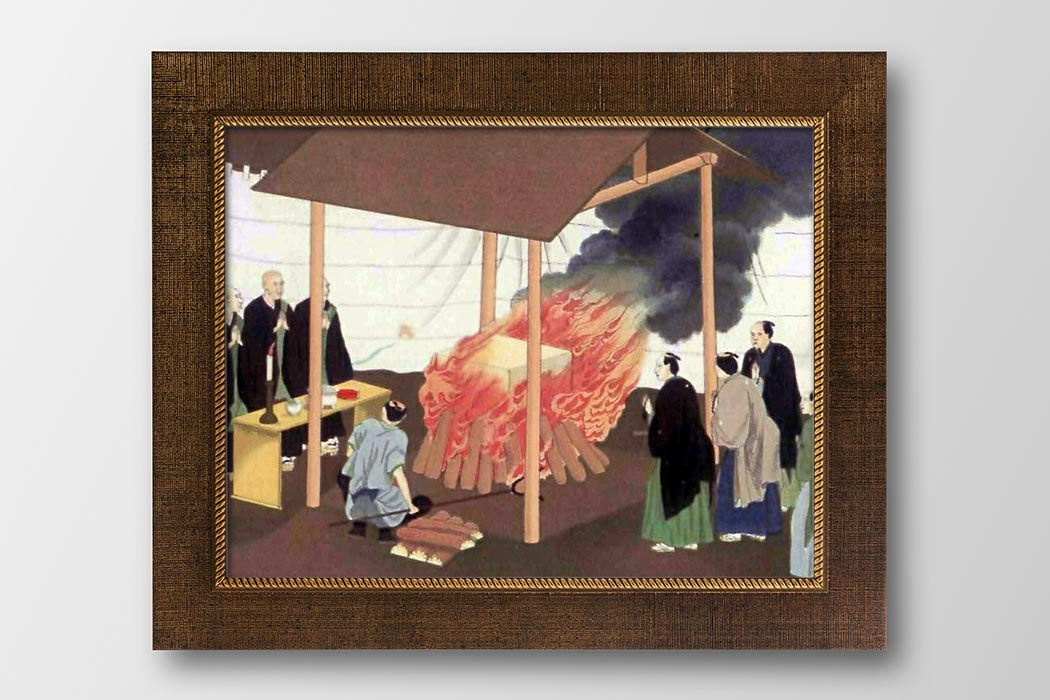 """Cremation in Japan-J. M. W. Silver"". Licensed under Public Domain via <a href=""https://commons.wikimedia.org/wiki/File:Cremation_in_Japan-J._M._W._Silver.jpg#/media/File:Cremation_in_Japan-J._M._W._Silver.jpg"" target=""_blank"">Wikimedia Commons</a>"