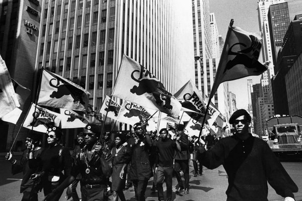 Description: The Black Panthers march in protest of the trial of co-founder Huey P. Newton in Oakland, California.  Photo Credit: Copyright Bettmann/Corbis / AP Images