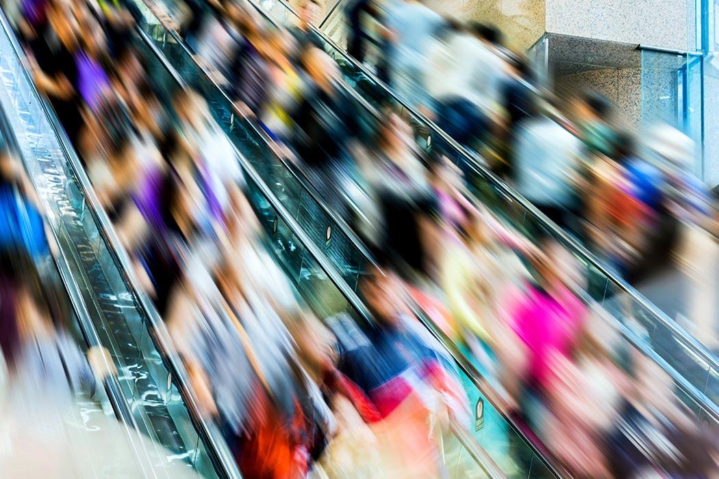 Crowed escalator
