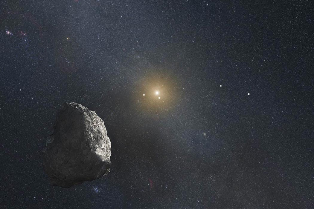 This is an artist's impression of a Kuiper Belt object (KBO), located on the outer rim of our solar system.