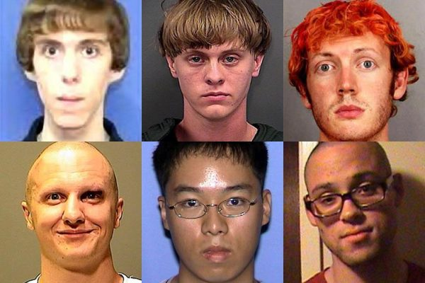 Adam Lanza, Dylann Roof, James Eagan Holmes, Jared Lee Loughner, and Seung-Hui Cho, via Wikimedia Commons. Chris Harper Mercer via MySpace.