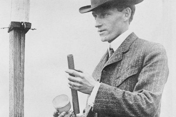 Charles Hatfield, the rainmaker, checking some equipment. (Copyright Bettmann/Corbis / AP Images)