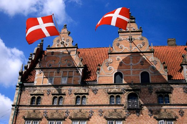 Danish flags in Jens Bangs Stenhus, Aalborg