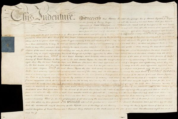 Indenture certificate for James Rymer Junior, binding him as an apprentice to the surgeon-apothecaries Caleb Woodyer and William Newland of Guildford, signed by all parties.