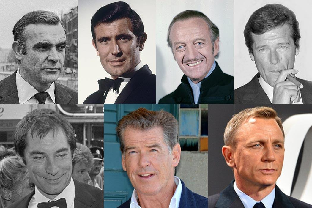 "The many faces of James Bond. From the top left: Sean Connery, George Lazenby, David Niven, Roger Moore, Timothy Dalton, Pierce Brosnan and Daniel Craig.  Sean Connery - By Mieremet, Rob / Anefo [CC BY-SA 3.0 nl], via <a href=""http://creativecommons.org/licenses/by-sa/3.0/nl/deed.en"" target=""_blank"">Wikimedia Commons</a>  George Lazenby - via jamesbond.wikia.com/wiki/James_Bond_(George_Lazenby)  David Niven - ""David Niven 4 Allan Warren"" by Allan warren - Own work. Licensed under CC BY-SA 3.0 via <a href=""https://commons.wikimedia.org/wiki/File:David_Niven_4_Allan_Warren.jpg#/media/File:David_Niven_4_Allan_Warren.jpg"" target=""_blank"">Commons</a>  Roger Moore - By Allan warren (Own work) [<a href=""http://creativecommons.org/licenses/by-sa/3.0"" target=""_blank"">CC</a> BY-SA 3.0 or <a href=""http://www.gnu.org/copyleft/fdl.html"" target=""_blank"">GFDL</a>], via Wikimedia Commons  Timothy Dalton - By Molendijk, Bart / Anefo [<a href=""http://creativecommons.org/licenses/by-sa/3.0/nl/deed.en"" target=""_blank"">CC</a> BY-SA 3.0 nl], via Wikimedia Commons  Pierce Brosnan - Georges Biard [<a href=""http://creativecommons.org/licenses/by-sa/3.0"" target=""_blank"">CC</a> BY-SA 3.0], via Wikimedia Commons  Daniel Craig - Licensed under CC BY 2.0 via <a href=""https://commons.wikimedia.org/wiki/File:Daniel_Craig_-_Film_Premiere_%22Spectre%22_007_-_on_the_Red_Carpet_in_Berlin_(22387409720)_(cropped).jpg#/media/File:Daniel_Craig_-_Film_Premiere_%22Spectre%22_007_-_on_the_Red_Carpet_in_Berlin_(22387409720)_(cropped).jpg"" target=""_blank"">Wikimedia Commons</a>"