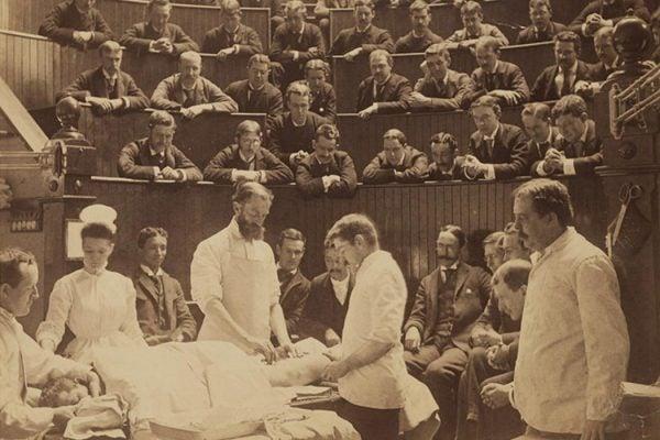 Boston City Hospital operating theater, circa 1890, by A. H. Folsom (d. 1926) of Roxbury