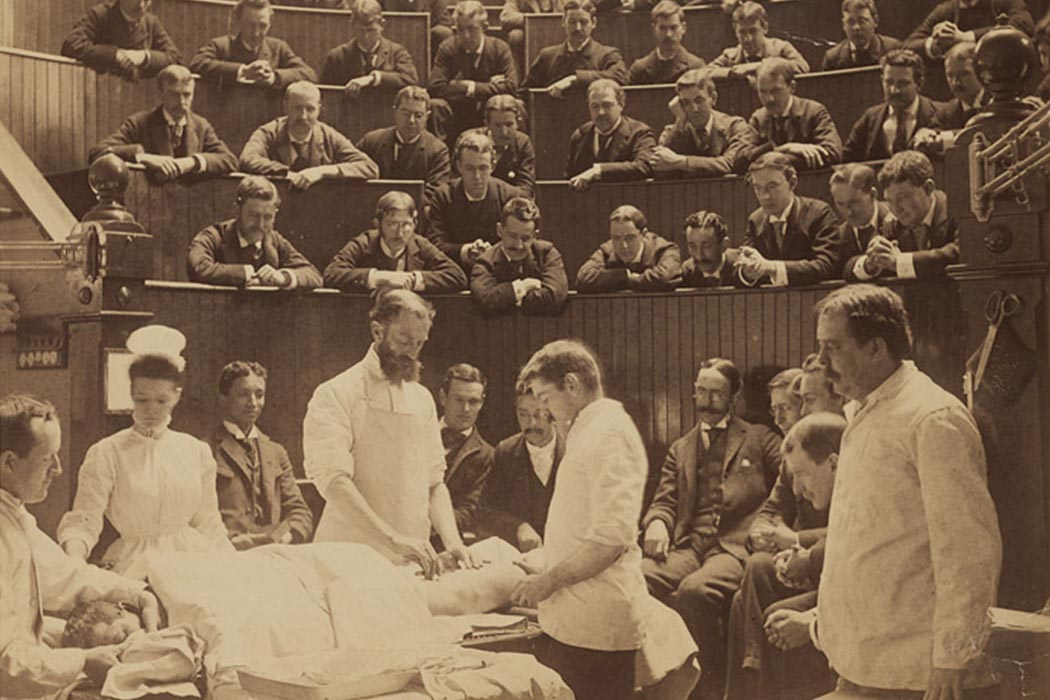 Boston City Hospital operating theater, circa 1890, by A. H. Folsom (d. 1926) of Roxbury