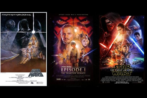 From left: Star Wars movie poster 1977, Star Wars: Phantom Menace movie poster 1999, Star Wars: The Force Awakens movie poster 2015