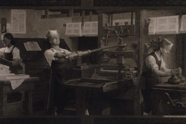 Benjamin Franklin at work on a printing press.