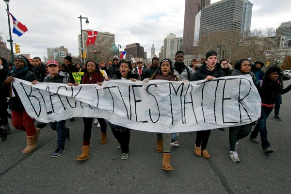 Philadelphia, PA, USA - December 12, 2014; Temple University students march on the Benjamin Franklin Parkway in Philadelphia, PA during a 'Black Lives Mater' protest march. (photo by Bas Slabbers)