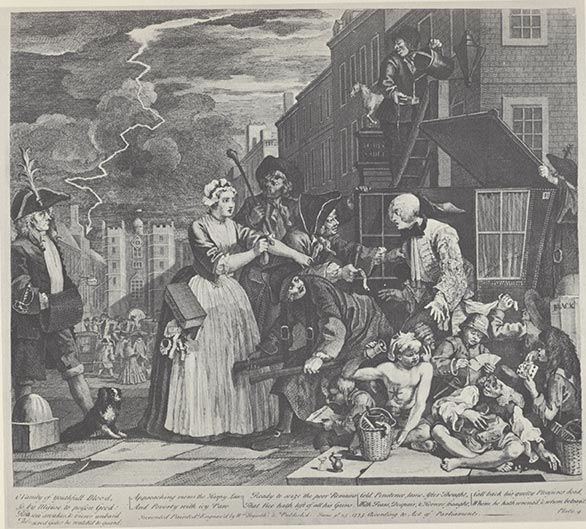 William Hogarth - A Rake's Progress, Plate 4 William Hogarth [Public domain], via Wikimedia Commons