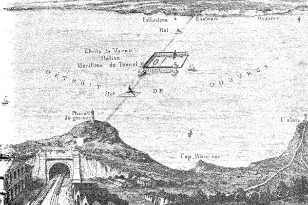 Thomé de Gamond's plan of 1856 for a cross-Channel link, with a port/airshaft on the Varne sandbank mid-Channel