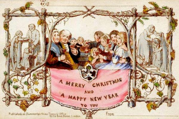 The world's first commercially produced Christmas card, designed by John Callcott Horsley for Henry Cole in 1843