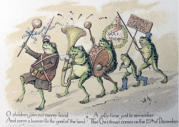Christmas card by Louis Prang, showing a group of anthropmorphized frogs parading with banner and band.