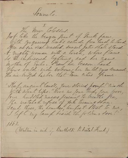 "Manuscript of the sonnet ""The New Colossus"" by Emma Lazarus, dated 1883."