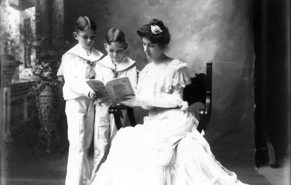 Photo credit: Mrs. Harvey Cook reading with two boys, 1904. (Miami University Libraries) https://www.flickr.com/photos/muohio_digital_collections/3191913115/