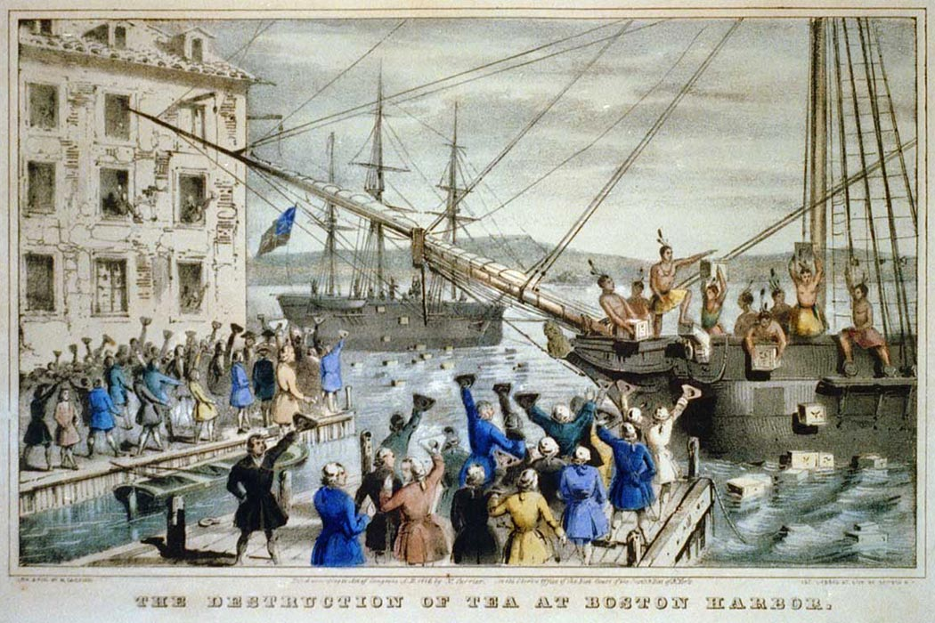 """The Destruction of Tea at Boston Harbor"", lithograph depicting the 1773 Boston Tea Party"
