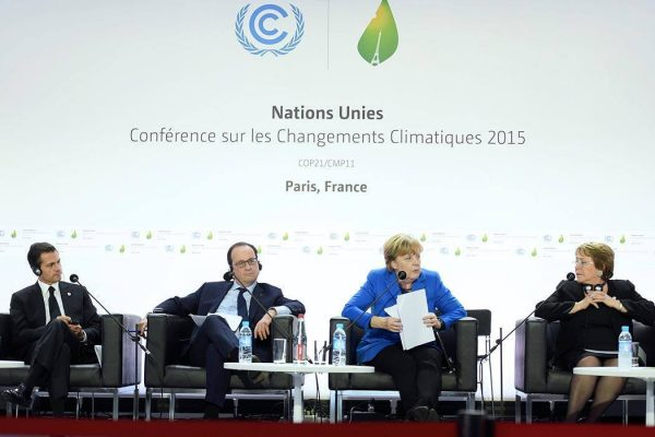 UN Climate Change Conference COP21 in Paris on 30 November 2015. From left to the right: Enrique Peña Nieto, François Hollande, Angela Merkel and Michelle Bachelet.