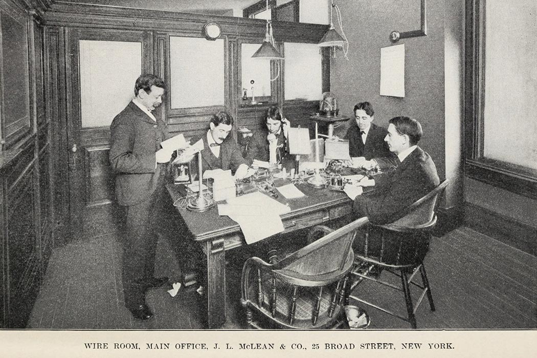 Wire Room, Main Office, J. L. McLean & Co., 25 Broad Street, New York