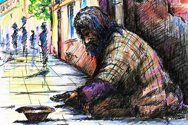 Illustration of a homeless man.