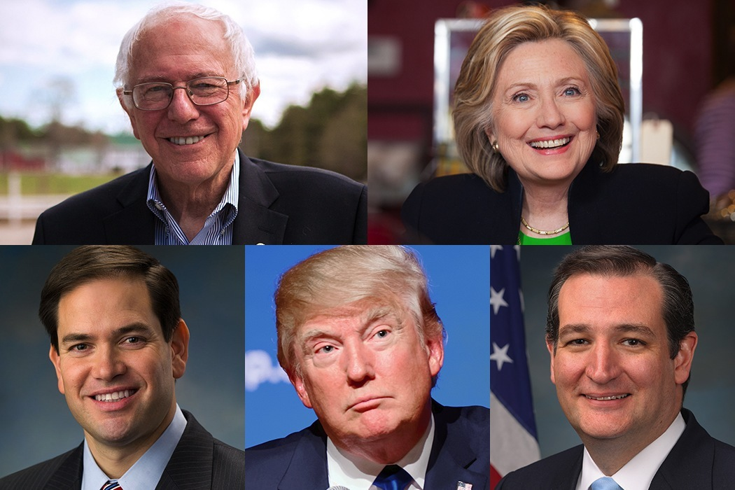 Presidential Candidates Bernie Sanders, Hillary Clinton, Marco Rubio, Donald Trump and Ted Cruz.