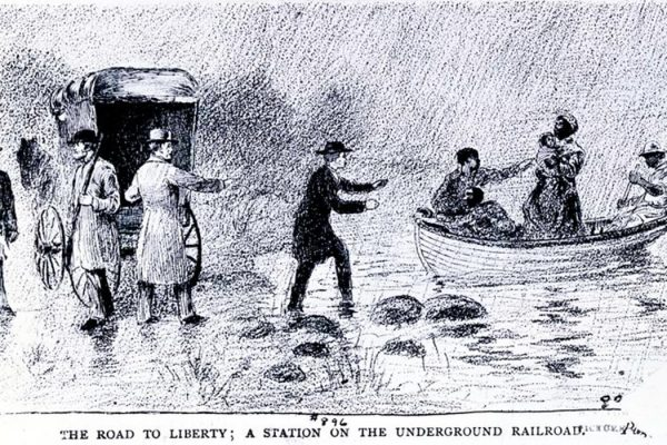 The road to liberty; a station on the Underground Railroad.