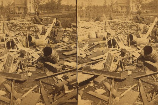 """The Miriam and Ira D. Wallach Division of Art, Prints and Photographs: Photography Collection, The New York Public Library. """"Scene showing how things were splintered where the storm was most severe."""" The New York Public Library Digital Collections. 1882. http://digitalcollections.nypl.org/items/510d47e0-62ee-a3d9-e040-e00a18064a99"""