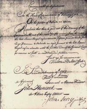 Former slave Belinda's petition for reparations.