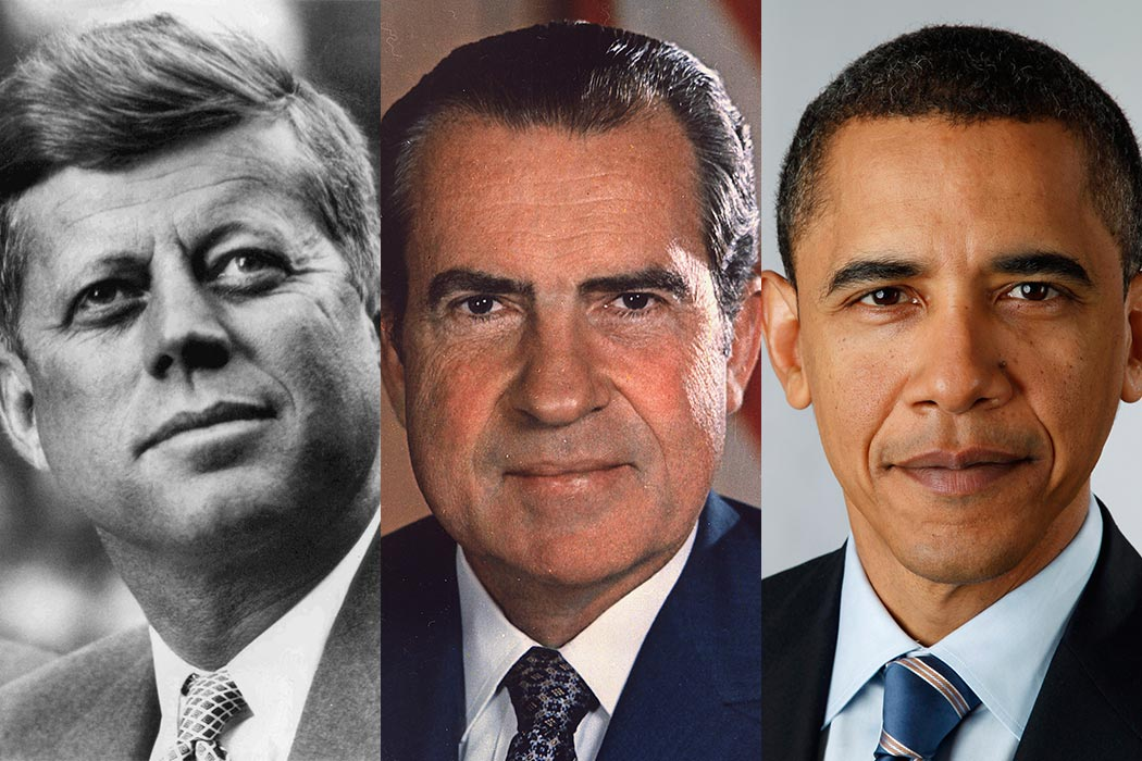 John F. Kennedy, Richard Nixon and Barack Obama.
