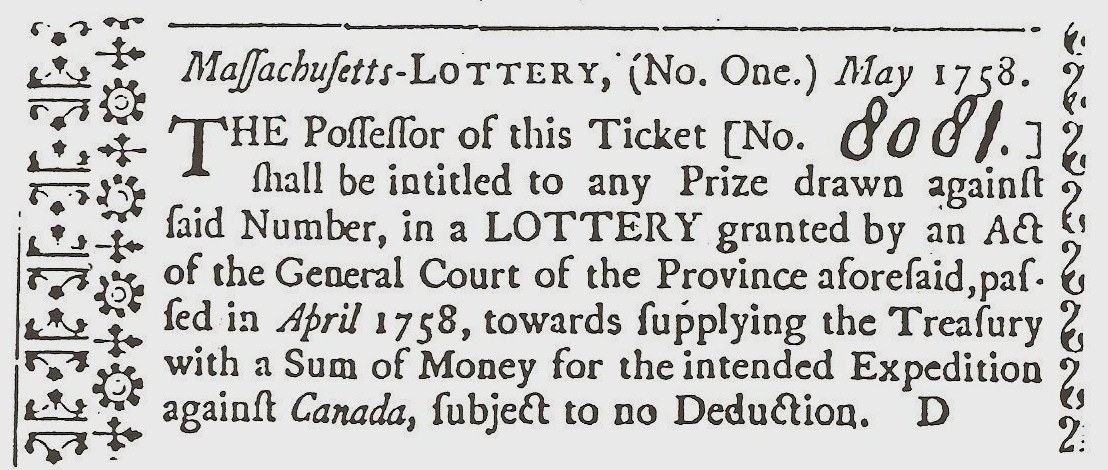 Massachusetts Lottery Ticket, May 1758