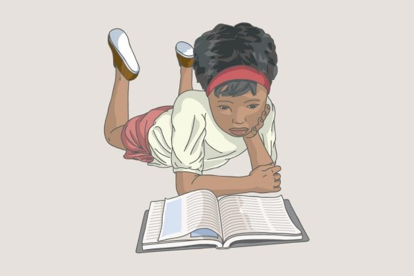 Illustration of a girl reading.