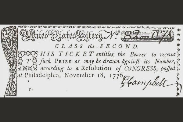 1776 Lottery ticket issued by Continental Congress to finance American Revolutionary War.