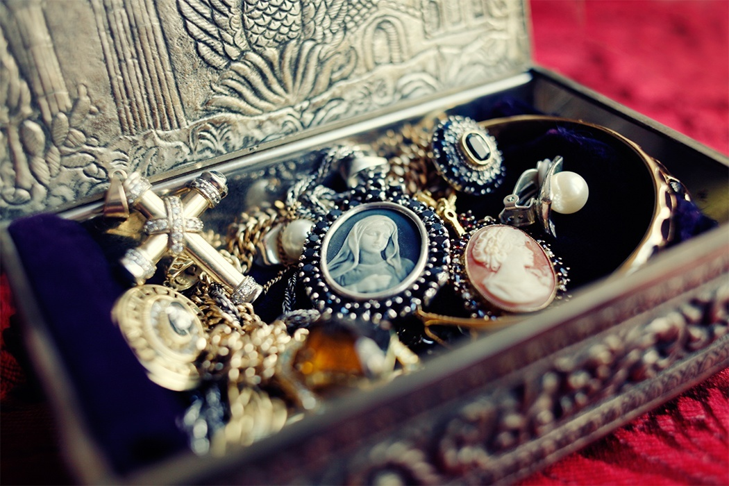 A box of antique jewelry.