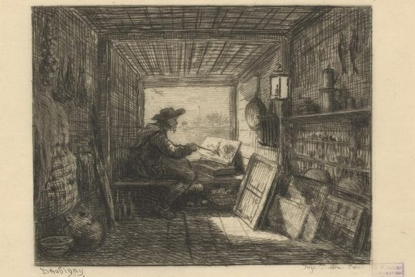 """Le bateau-atelier The Miriam and Ira D. Wallach Division of Art, Prints and Photographs: Print Collection, The New York Public Library. """"Le bateau-atelier (another impression)"""" New York Public Library Digital Collections. Accessed March 10, 2016. http://digitalcollections.nypl.org/items/7d3b4edc-0895-16f4-e040-e00a18067a68"""