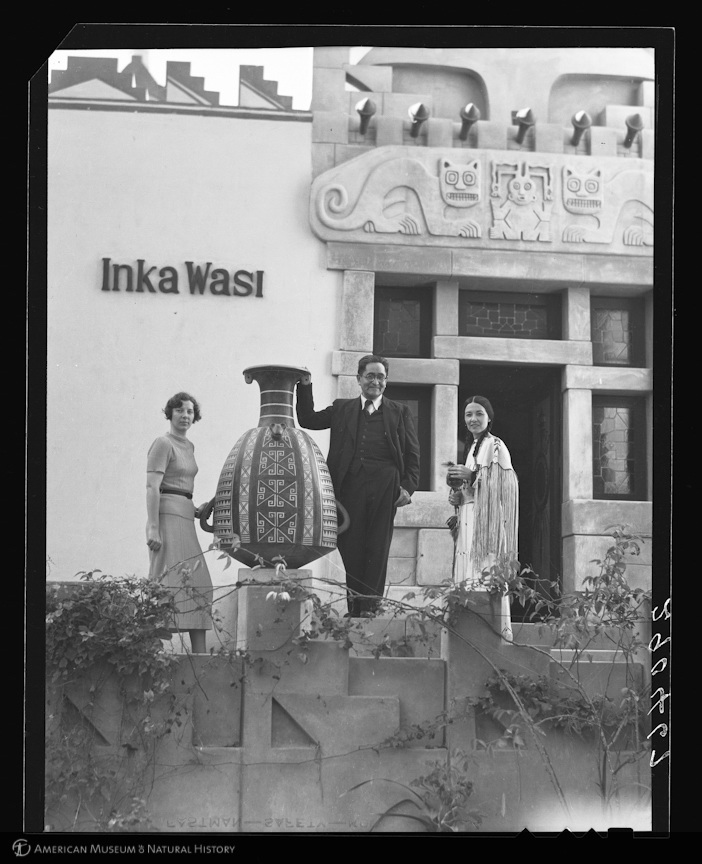 """Dorothy A. Bennett, Te Ata Fisher, and Dr. Julio C. Tello at Inka Wasi, Dr. Tello's home, Lima, Peru, 1937,"" Fisher, George Clyde, AMNH Digital Special Collections. Courtesy of American Museum of Natural History"