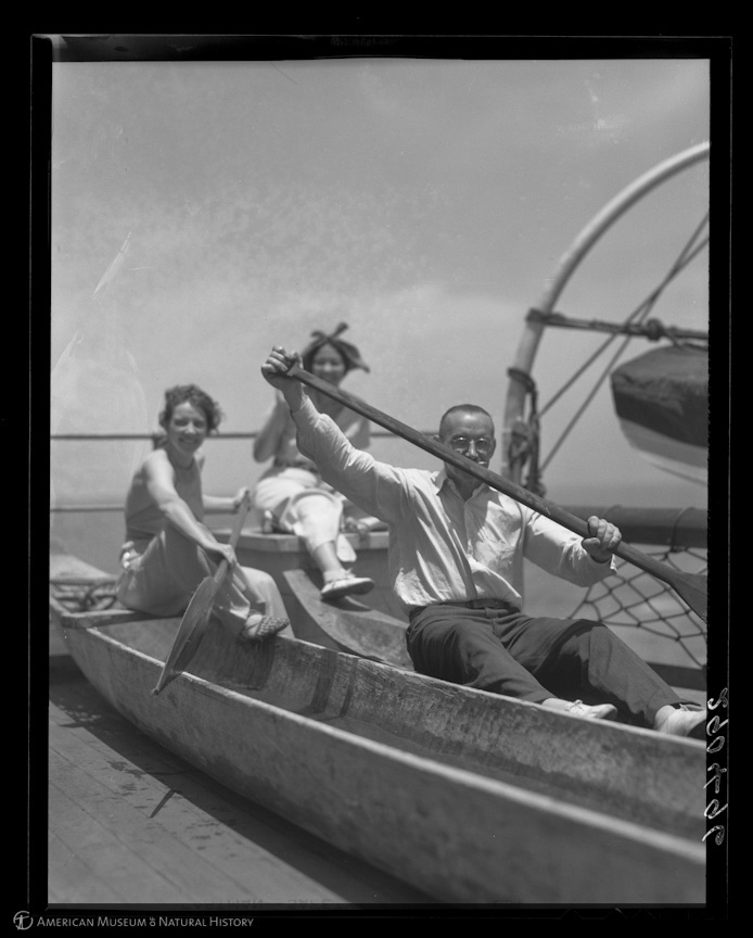 """Dorothy A. Bennett, Te Ata Fisher, and Major Albert W. Stevens with dugouts on the SS Santa Clara, en route to New York from Lima, Peru, 1937,"" Fisher, George Clyde, AMNH Digital Special Collections. Courtesy of American Museum of Natural History"
