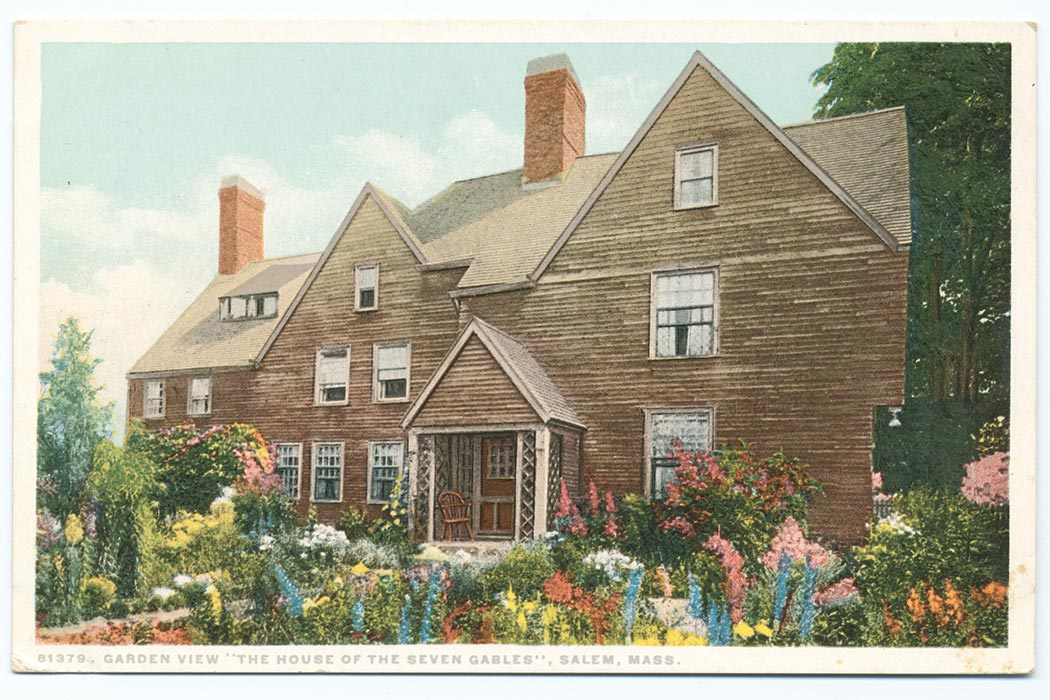 """Garden view """"The House of the Seven Gables"""", Salem, Mass. The Miriam and Ira D. Wallach Division of Art, Prints and Photographs: Photography Collection, The New York Public Library. """"Garden view """"The House of the Seven Gables"""", Salem, Mass."""" New York Public Library Digital Collections. Accessed March 10, 2016. http://digitalcollections.nypl.org/items/510d47d9-9dc0-a3d9-e040-e00a18064a99"""