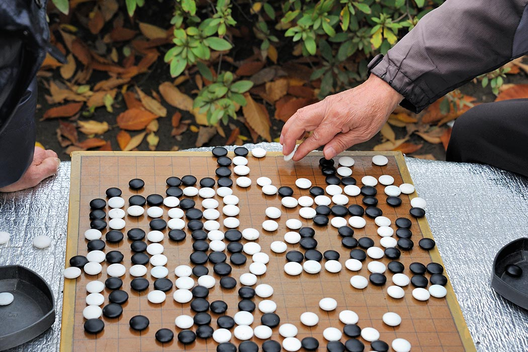 Playing go in the garden