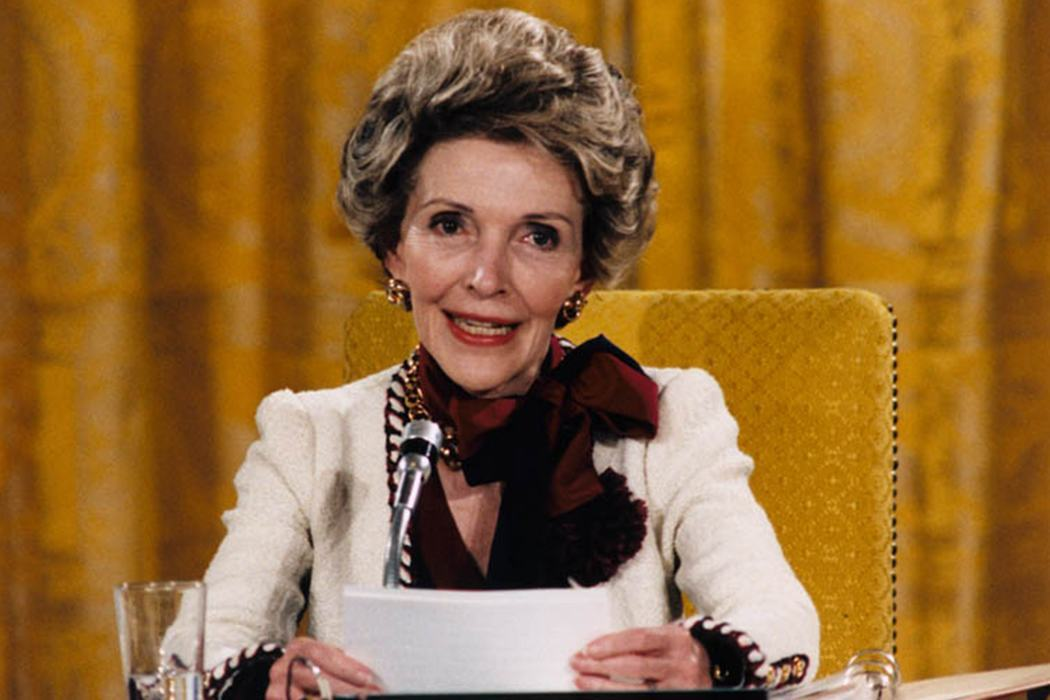 Mrs. Reagan hosts the First Ladies Conference on Drug Abuse, 1985 in the White House East Room