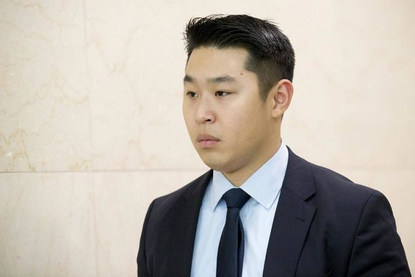 Police officer Peter Liang leaves the courtroom at the end of the day in his trial on charges in the shooting death of Akai Gurley, Tuesday, Feb. 9, 2016, at Brooklyn Supreme court in New York. Jurors are scheduled to start discussing their views of Liang's actions as soon as Tuesday. Closing arguments are expected in the morning, and deliberations are likely to begin in the afternoon. (AP Photo/Mary Altaffer)