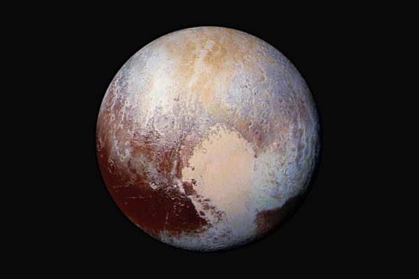 Four images from New Horizons' Long Range Reconnaissance Imager (LORRI) were combined with color data from the Ralph instrument to create this enhanced color global view of Pluto. https://www.nasa.gov/sites/default/files/thumbnails/image/nh-pluto-in-false-color.jpg NASA