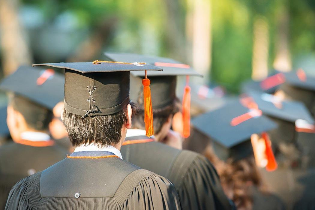 Graduates during commencement.